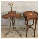 Faux bamboo & shell-decorated mahogany tray table;