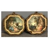 Pair of framed Fragonard style prints