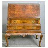 Queen Anne style walnut slant front desk