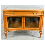 Pine and marble top concave side cabinet