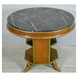 Marble top mahogany side table
