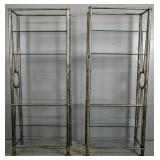 Pair of steel and glass etageres
