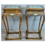 Pair of Chinese rosewood and cloisonne stands