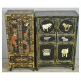 2 Chinese lacquered cabinets