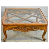 Provincial Louis XV style glass top coffee table