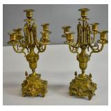 Pair of Victorian gilt-metal candelabra