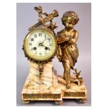 Louis XVI style gilt-metal & marble mantel clock