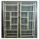 Pair of white painted rattan etageres