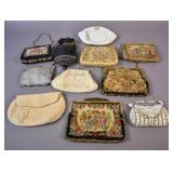 Group of vintage needlepoint and beaded handbags
