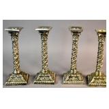 Set of 4 Neoclassical silver plated candlesticks