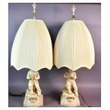 Pair of painted composition figural lamps