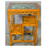 Asian teak marble top side table