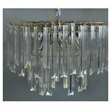 Mid Century Modern lead & acrylic chandelier;