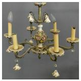 Spanish porcelain & metal 6-light chandelier