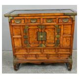 Asian stained wood cabinet