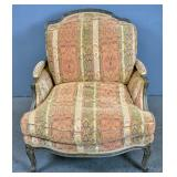 Louis XV style limed wood & upholstered bergere
