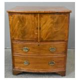English bow front bedside commode