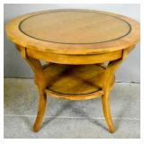 Transitional style fruitwood circular side table