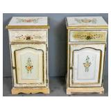 Pair of floral-decorated bedside cabinets