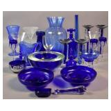 Group of blue and clear glass wares