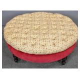 Oval upholstered ottoman/low table