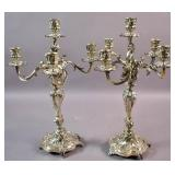 Pair of Rococo style silver plated candelabra