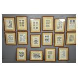 Set of 16 architectural prints