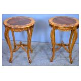 Pair of Louis XV style walnut inlaid side tables