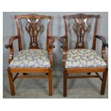 Pair of Georgian style mahogany armchairs