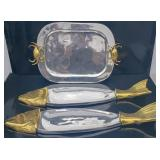 3 Silver plated and brass serving trays