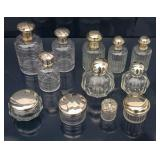 13 Glass Continental silver-topped dresser bottles