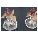Pair of signed Daum glass scent bottles