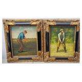 Pair of framed reproductions of golfers