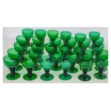 Set of 30 green glass goblets