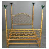 Faux bamboo & painted tole four-poster bed