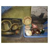 2 Baskets of Pottery, Brass, Glass & Copper