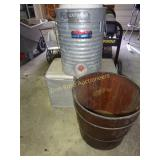 Wooden Bucket & 2 Vintage Coolers