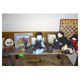 Small Primitive Bench, Amish Dolls Etc.
