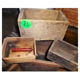 Primitive Boxes, Small Bench, Crock