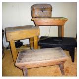 Wooden Stools & Wicker Box