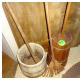 Rake, Butter Churn & Wooden Bucket