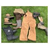 Carhartt Overalls, Weighters, Boots