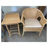 Wicker Chair and Stand