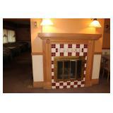 1 of 2 fireplace oak mantels