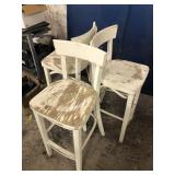 Three High Top White Chairs Stools