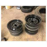Four Black Steel Wheels