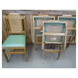 """4 VINTAGE WOOD FOLDING CHAIRS 18"""" SEAT HEIGHT"""