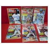 6 TOPPS MAGS WITH UNCUT CARDS INSIDE