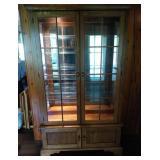 Oak Lighted Curio Cabinet - 6 glass shevles, 3