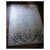 Aqua and Gray area rug - 5 ft by 7 ft